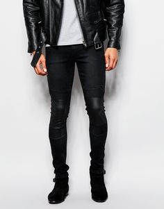 ASOS Extreme Super Skinny Jeans With Biker Panels