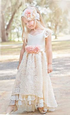 Flower Girls Princess Bride Frock 2 to 10 Years Only at Cassie's Closet Now in Stock Vintage Flower Girls, Lace Flower Girls, Lace Flowers, Wedding Flowers, Little Girl Dresses, Girls Dresses, Communion Dresses, Bridesmaid Dresses, Wedding Dresses