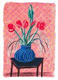 Amaryllis in vase by David Hockney
