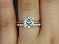 Skinny Flora & Tiffany 14kt Rose Gold Round FB Moissanite and Diamonds Wedding Set (Other metals and stone options available)