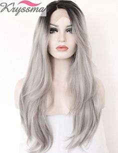 K'ryssma 2 Tones Synthetic Lace Front Wig Ombre Hand Tied Straight Silver Wig Dark Roots Heat Resistant Fiber Hair 22 Inches