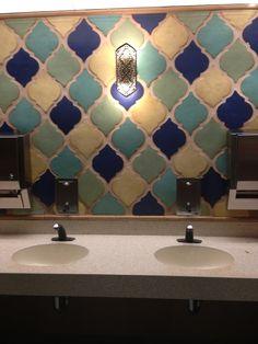 Moroccan bathroom tiles  I like the color scheme