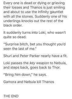 Ok I just want to say the reason I love this is because no one, NO ONE deserves to end Thanos more than those two girls. And yes I say girls and not women because their childhood is what he stole from them