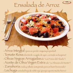 Ensalada de arroz con tomate rosa ebroVerde. Otros ingredientes: olivas  negras arrugadas, lechuga, zanahoria rallada y aceite de oliva. https://www.facebook.com/Ebroverde/photos/a.505085492874761.1073741828.504219712961339/670050593044916/?type=1&theater