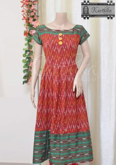 Kalamkari Blouse Designs, Kalamkari Dresses, Ikkat Dresses, Churidar Designs, Kurti Neck Designs, Dress Neck Designs, Cotton Anarkali Dress, Cotton Dress Indian, Designer Anarkali Dresses