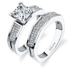Princess Cut Pave Euro-Style Engagement ring.  This modern engagement set can be made with any diamond shape as a center.  This gorgeous set has, not including the center stone, a total of .34cts of diamonds G-VS in quality and can be ordered in Platinum, Gold or Palladium.  To order in your custom size, please go to www.rings4love.com