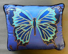 Handmade Handpainted Silk Butterfly Pillow by WomensMemoirWriting