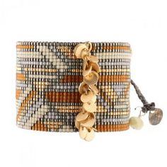 Bracelet manchette MISHKY CHAINED DISK Camel doré