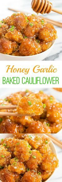 Honey Garlic Baked Cauliflower - - Crunchy baked breaded cauliflower pieces are coated with honey garlic sauce. It's an easy and delicious weeknight meal. Tasty Vegetarian Recipes, Healthy Recipes, Vegetable Recipes, New Recipes, Whole Food Recipes, Cooking Recipes, Recipes Dinner, Vegan Meals, Recipies