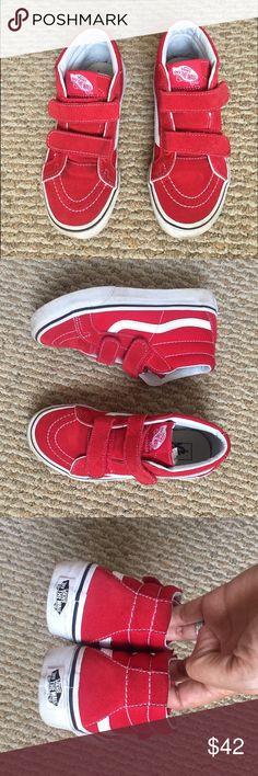 Red vans high tops Size 1.5 boys worn 3 times Vans Shoes Sneakers