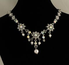 Bridal Rhinestone And Pearl Necklace. Listing 82769796 by Ptcreationsjewelry on Etsy
