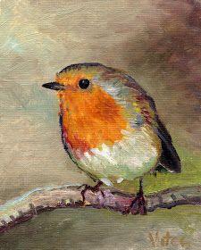 Birds painting by Vitec: All Christmas Robins Watercolor Paintings, Bird Paintings, Watercolours, Color Pencil Art, Bird Art, Beautiful Birds, Colored Pencils, Art Drawings, Robins