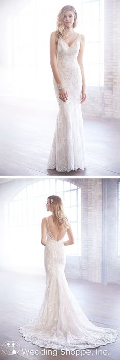 A beautiful v-neck bridal gown with beaded detailing and slim silhouette.