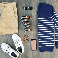 Shorts are modern piece of menswear that should be included in every man's wardrobe. Here is your men's short style inspiration guide - weekend style ideas. Look Fashion, Daily Fashion, Mens Fashion, Trendy Fashion, Fashion Trends, Mode Outfits, Casual Outfits, Fashion Outfits, Looks Style