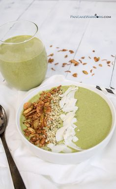 Healthy never tasted so good! Try this coconut peanut butter green smoothie for an easy way to get more veggies into your diet! Vegan, gluten free and simple, this recipe is perfect for breakfast or before or after a workout!   www.pancakewarriors.com