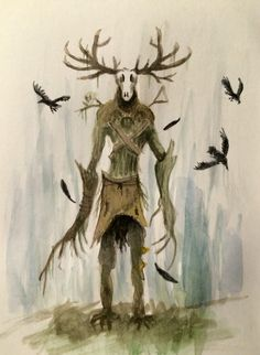 The Witcher 3: Wild Hunt Leshen Aquarelle (Waldschrat) simply the best artdesign of the whole series in my oppinion. Dnd Monsters, Horror Monsters, Creatures Of The Night, Weird Creatures, Wendigo Costume, Witcher Tattoo, The Witcher Wild Hunt, Spirit Tattoo, Monsters