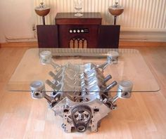 Nothing like an engine wine holder for a table base!