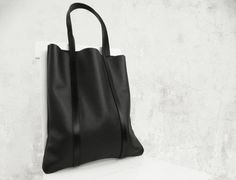 Large Leather Tote Bag/Large Black Leather Tote/Big by diDaydesign