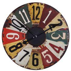 License Plates Wall Clock.