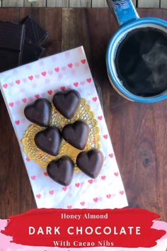 Honey Almond Dark Chocolate with Cacao Nibs, all healthy ingredients on their own. Together, they make one of the most amazingly delicious homemade chocolate candy! This recipe screams valentine's candy! Heart-shaped dark chocolate filled with a gooey, crunchy, and oh so yummy center.