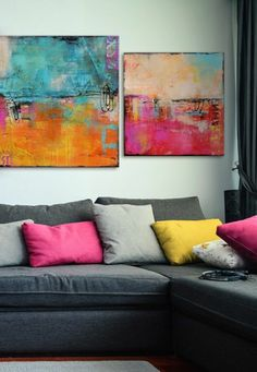"""Colorful Abstract Art Series """"Urban Poetry I & II"""" by Erin Ashley with matching pillows. Abstract artwork via Decoration, Art Decor, Home Decor, Urban Poetry, Colorful Abstract Art, Colorful Artwork, Art Series, Canvas Wall Art, Abstract Canvas"""