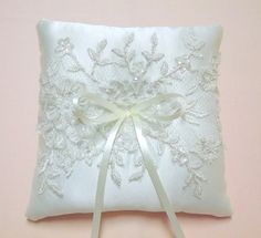 Ivory wedding ring pillow decorateded with by MissLaceWedding