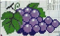 Fruit grapes cross stitch.