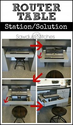 This is awesome! A pull out router table that locks in place, with plenty of bit storage! www.sawdust2stitches.com