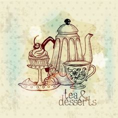 Tea And Desserts - Vintage Menu Card In Vector Royalty