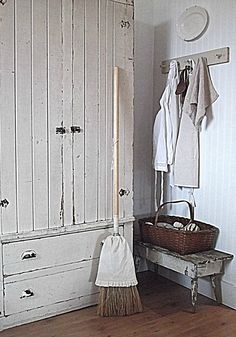 Rustic Farmhouse - This is a great cabinet - I even like that broom with a little dress.