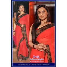 Indian Bollywood Fashionable Trendy Fancy Sensational Red Rani Mukherjee Saree B-44