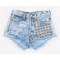 477 Acid Studded Dreamer Shorts ❤ liked on Polyvore featuring shorts, bottoms, short, denim cut-off shorts, short shorts, ripped shorts, frayed denim shorts and short jean shorts