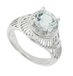 "Repeating radiating links make up the mounting of this platinum Art Deco engagement ring. A 1.59 carat aquamarine stone sits in the center of this lovely mounting. The inscription reads ""HPW"". Circa: 1920. The ring measures 11.00 mm in width. Size 7 1/4. Can be resized."
