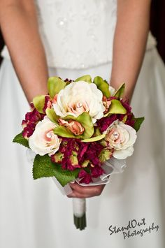 This gorgeous #bridal #bouquet is made from finest quality silk #flowers. Blush pink roses with gem stone accents, burgundy hydrangea and green orchids