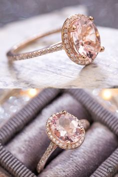 14k rose gold morganite engagement ring with diamond halo and pave shank. This couple was looking for a delicate, feminine engagement ring with an oval stone. After discussing diamonds, we settled on this perfect 7x9mm oval pink morganite. Using 1mm diamonds for the halo and shank keeps this very thin and feminine, and lets the beautiful morganite pop.