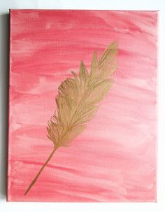Tribal Feather Canvas Painting // Gold Pink Wall Art // 11 x 14 Wall Decor // Pink Watercolor Art