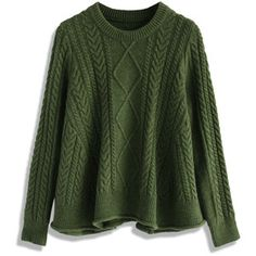 Chicwish Flare Cable Sweater in Olive