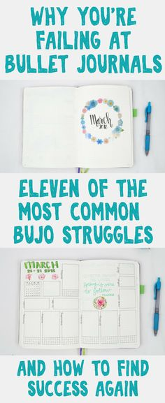 Bullet Journal - The top reasons that people struggle with their bullet journals along with creative ideas and tips to help handle them like a pro. Learn how to love your bullet journal all over again!
