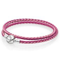 $30 PANDORA Mixed Pink Woven Double-Leather Bracelet