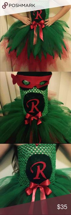 NWOT Teenage mutant ninja turtles tutu dress 2t-6 This item is Homemade! Raphael Teenage Mutant Ninja Turtles tutu dress has 2 layers of tulle. Fits from 2t up to 6 (child in photo where's  size 6 with chest measurements of  24.5 in) can make any of the ninja turtles. Message me and I can make a post for a different one any color, or letter. This post is only for Raphael.  Prefect for Halloween or dress up. Would make a wonderful Gift for any super-girl!!! Great for comic con!!!! Comes with…