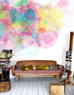 15 fotos e ideas para pintar y decorar las paredes con acuarelas.