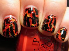 Lava nail art. Make the underlying colors black light reactive if you want it to really glow like lava!