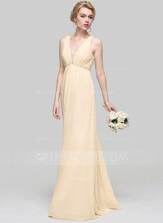 [£76.00] Empire V-neck Floor-Length Chiffon Bridesmaid Dress With Ruffle Beading Sequins Bow(s)