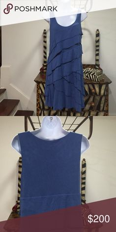 New York and Company Blue Dress-SZ L Great Layered Style Knit Dress New York and Company Dresses Midi