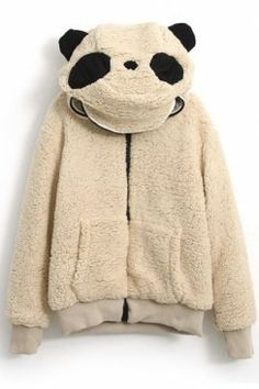 Panda Shaped Hooded Zippered Elastic Light-Khaki Coat