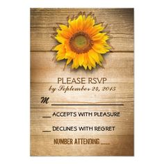 rustic wood country sunflower wedding RSVP Custom Invites