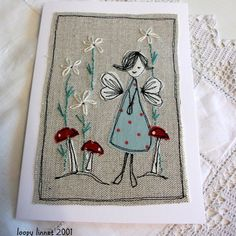 An original fabric appliqué design on natural linen depicting a pretty little fairy standing among embroidered daisies and toadstools. Embroidery Cards, Free Motion Embroidery, Embroidery Applique, Embroidery Patterns, Fabric Cards, Fabric Postcards, Freehand Machine Embroidery, Free Machine Embroidery, Creeper Minecraft