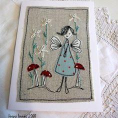 Fabric appliqué card - Folksy