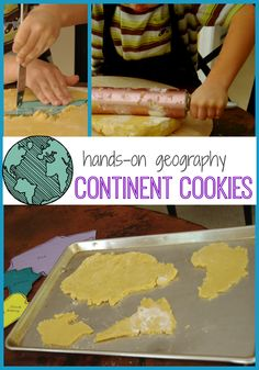 How to make Continent Cookies:  Hands-on geography for kids. Learning about the seven continents with book resources, map work, songs and more.