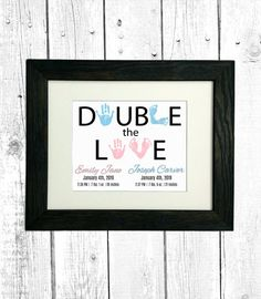 Baby Handprints Footprints Name and Statistics Personalized Double the LOVE TWINS Nursery Art Print Nursery Twins, Nursery Art, Nursery Decor, Twin Baby Gifts, Love Twins, Footprints, Baby Prints, Custom Art, Framed Prints